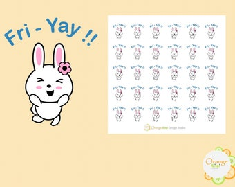 Bunny Cheering Friday Stickers, Fri-Yay Stickers, Planner Stickers