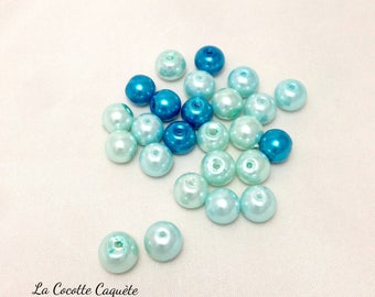 25 round glass pearls - assortment of blue beads - 8 mm