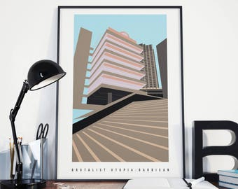 Brutalist Barbican:  London Brutalism Architecture Illustrated, Matte & Giclee Art Prints in A3 or A2 sizes.  Home Decor, Prints of London