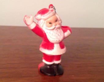 Vintage Hard Plastic red and white Santa Ornament