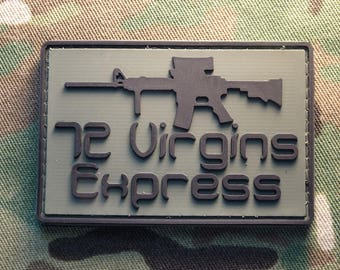 "72 Virgins Express AR 15 OD Green 2x3"" PVC Tactical Hook Morale Patch Infidel"