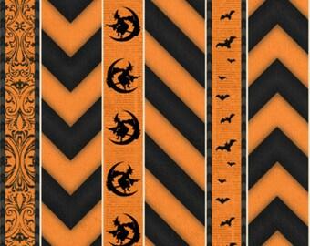 Wilmington Prints - Something Wicked 84381-891 Orange Chevron Stripe **Half Yard Cuts**