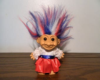 Vintage Patriotic 4th Of July Troll Doll Red White And Blue