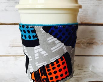 Dalek Coffee Cup Cozy, Reuasble Coffee Sleeve, Doctor who Tea Cup Cozy, Personalized Gift, Custom Cup Sleeve, Eco Friendly Item,
