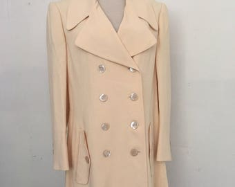 Moschino stylish jacket from real textile soft textile steep jacket modern long jacket vintage style light yellow women's size-medium.