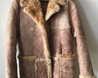 Stylish Brown Winter Genuine Soft Sheepskin Suede Coat Mid Length Women's Size Medium.