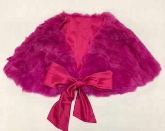 Amazing bright fur bolero real rabbit fur velvet fur old bolero fantastic women's bolero pink bolero has size-universal.