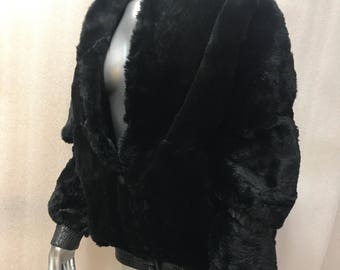 Stylish Short Vintage Black Genuine Rabbit Fur Coat Men's Size Large.