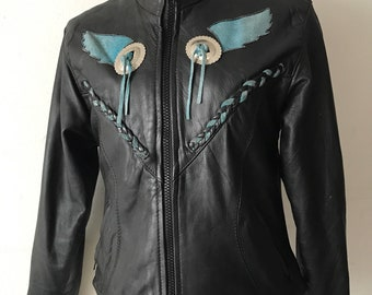 Black vintage leather jacket woman size small .
