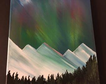 Mountain Dreams, an original 11x14 acrylic painting on canvas