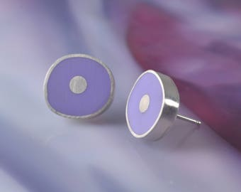 Modern Resin Stud Earrings, Fine Silver, Lilac Color, Modern Resin Jewelry,  Contemporary Handmade Earrings by JustMOD