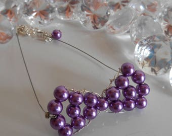 Purple bow wedding bracelet