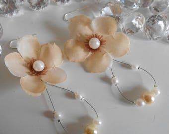 Earrings long bridal beaded cream flower