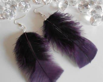 Wedding earrings purple feathers