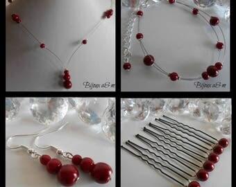 Set of 4 wedding pieces cascade of Burgundy beads