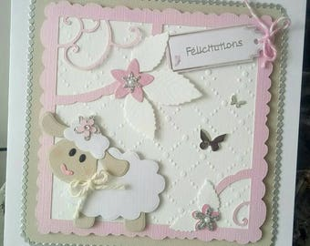 Card congratulations little sheep in pastel shades