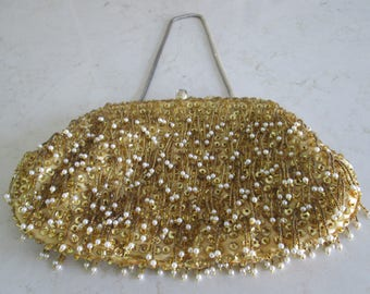 Gold Beaded Evening Bag with Chain Handle