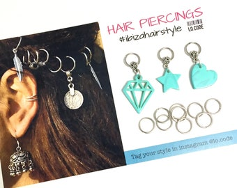 Hair hoops with charms - fucsia
