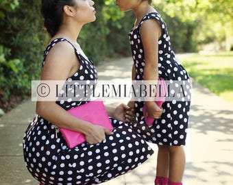 Polka dot dress, mommy and me, matching dresses, matching outfits, mother daughter, short dresses, mothers day, gifts for her, casual dress