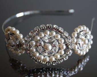 Sample Sale - Swarovski Crystal and Pearl Trio of Cirlces Side Tiara