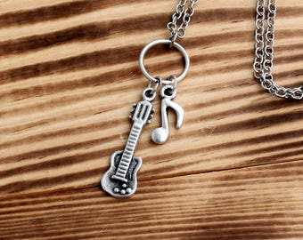 Silver Plated Necklace, guitar necklace, guitarist jewelry, silver guitar necklace, musician necklace, silver necklaces, Minimal necklace