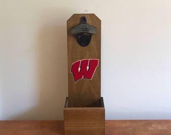 Wall Mounted Bottle Opener - Wisconsin Badgers