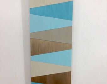 CLEOPATRA - wood art - wooden wall art - blue - gold - tan - turquoise - zen - contemporary - art - wall art - golden