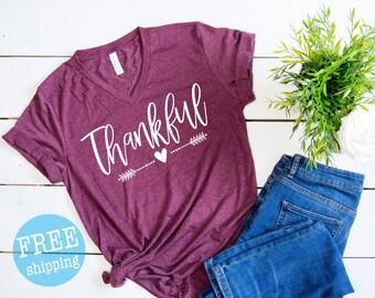 Thankful Shirt - Thanksgiving Shirt , Thankful Grateful Blessed, Thanksgiving top, Thanksgiving T-shirt, Give thanks top, Gobble Gobble Top