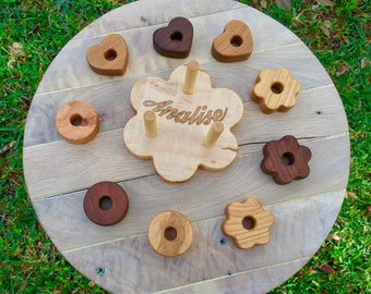 Personalized Wooden Stacking Toy wood toy  Wooden Shapes Stacking Toy