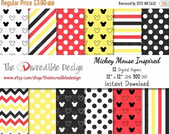 OFF SALE Mickey Mouse Inspired digital paper pack for scrapbooking, Making Cards, Tags and Invitations, Instant Download