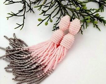 Beaded tassel earrings Pink grey bead earrings Long beaded tassel earrings Oscar Fashion earrings Ombre beaded tassel