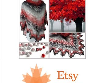 EtsyCA150+ Canadiana Hand-knit Lace Shawl ,Scarf Wrap Poncho Wedding accessories Women's gifts