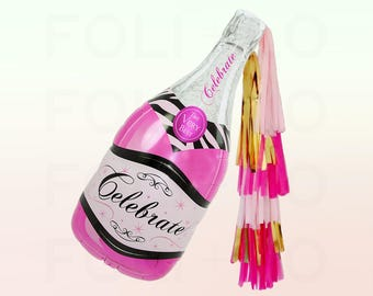 "HUGE 39"" Pink Champagne Balloon | Bachelorette Balloon | Pink Party Theme | Celebrate Champagne Balloon | Giant Champagne Bottle"