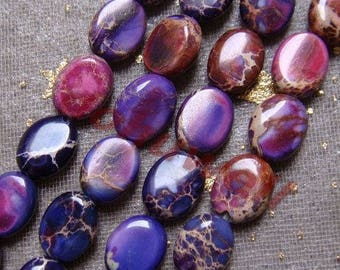 5 beads Jasper purple 8 X 6 X 3 MM.