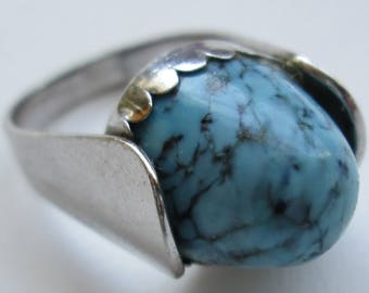 Large Beau Sterling Silver Turquoise Ring