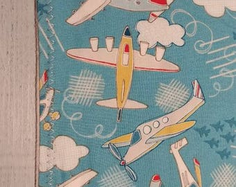 Handmade Burp Cloths - Airplane Collection - Boy -  Blue - Set Of 4