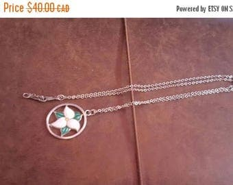 ON SALE Vintage Bond Sterling Silver Necklace with Silver and Enamel Pendant