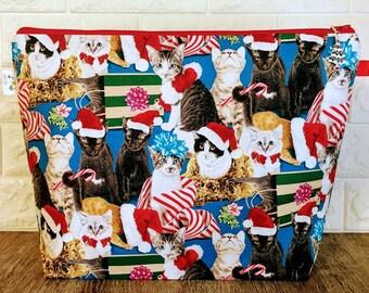 Large Zippered Knitting Project Bag, Knitting project bag, Wedge Project Bag, Large Project Bag, Cat Bag, Yarn Bag, Chrsitmas Project Bag