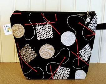 Sock Knitting Project Bag,Small Knitting Bag, Zippered Knitting bag, Knitting Bowl, Yarn tote, Yarn Knitting Bag,Gift for knitter