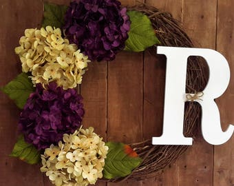 Everyday Wreath, Monogram Wreath, Hydrangea Wreath, Spring Wreath, Summer Wreath