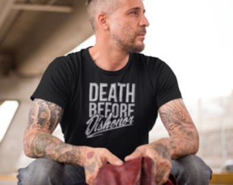 """T-Shirt with """"Death before dishonor"""" logo Print, """"Death before dishonor"""" T-Shirt, Printed T-Shirt """"Death before dishonor"""" logo,  T-Shirt."""
