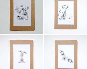 Notebook, Hand decorated notebook, Notebook, Embroidered notebook, A5 notebook, Thank you gift, Cat, Bat, Dog, Panda
