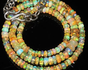 "44 Ctw 1Necklace 3to6 mm 16"" Beads Natural Genuine Ethiopian Welo Fire Opal ET153"