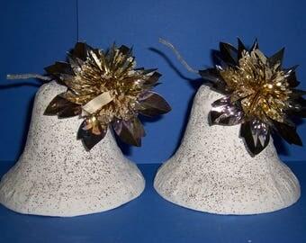Vintage 1950's Christmas Bells, Vintage Christmas, Glitter Bells, Paper Mache Bells, Silver and Gold Foil