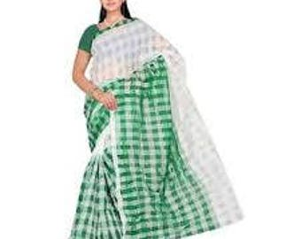 Indian Vintage Fabric Saree Women Craft Fabric Checkered Saree Curtain Drape 5YD Material Sewing Dress Fabric White Used Cotton Blend Saree