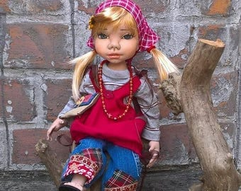 Handmade Doll, Art doll, Etela, Doll in red,Unique Doll,Collection Doll,Soft Doll, Textile Doll,Housewarming gift,