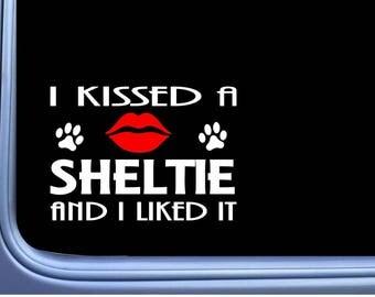 "Sheltie Kissed L885 8"" shetland sheepdog window decal sticker"