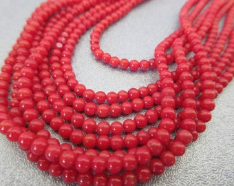 Red Bamboo Coral 3mm Round Beads 15 inches Long