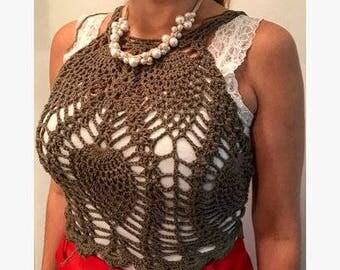 Cotton top military green crochet