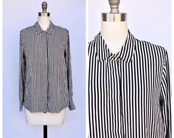 basic button up stripes slouchy top /  medium